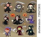 vintage halloween poster design ... | Shutterstock .eps vector #739672831