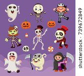 vintage halloween poster design ... | Shutterstock .eps vector #739672849