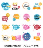 flat design colorful sale... | Shutterstock .eps vector #739674595