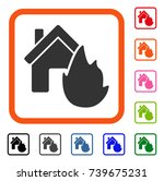 house fire disaster icon. flat...   Shutterstock .eps vector #739675231