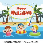 happy kids play and swim at the ... | Shutterstock .eps vector #739676221