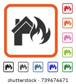 home fire disaster icon. flat...   Shutterstock .eps vector #739676671