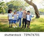 happy kids in the park | Shutterstock . vector #739676701