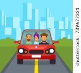 car sharing group of people car ... | Shutterstock .eps vector #739677331
