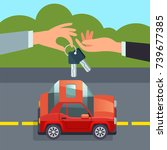 car sharing concept hand giving ... | Shutterstock .eps vector #739677385