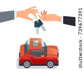 car sharing concept hand giving ... | Shutterstock .eps vector #739677391