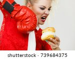 woman fighting with her bad... | Shutterstock . vector #739684375