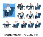 businessman work sitting front... | Shutterstock .eps vector #739687441