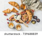 breakfast with croissants ... | Shutterstock . vector #739688839