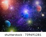 nebula and galaxies in space... | Shutterstock . vector #739691281