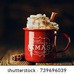 closeup shot of delicious cacao ... | Shutterstock . vector #739696039