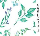 flower leaves and ferns pattern ...   Shutterstock . vector #739704325