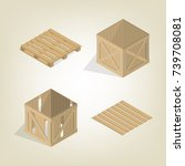 realistic wooden container for... | Shutterstock .eps vector #739708081