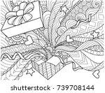 line art design of opened gift... | Shutterstock .eps vector #739708144