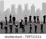 vector  silhouette of walking... | Shutterstock .eps vector #739711111