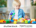 adorable little boy playing... | Shutterstock . vector #739711231