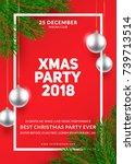 christmas party poster design.... | Shutterstock .eps vector #739713514