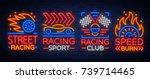 racing neon logos pattern. a... | Shutterstock .eps vector #739714465