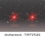 headlights effect with rain... | Shutterstock .eps vector #739719181