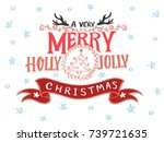 a very merry holly jolly... | Shutterstock .eps vector #739721635