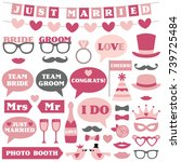 wedding vector photo booth props | Shutterstock .eps vector #739725484