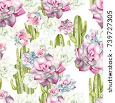 watercolor pattern with cacti... | Shutterstock . vector #739727305