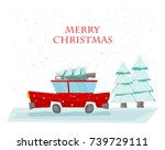 vector christmas car with fir... | Shutterstock .eps vector #739729111