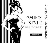 black and white fashion sale... | Shutterstock .eps vector #739730719