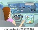 cockpit of autonomous car. self ... | Shutterstock .eps vector #739732489