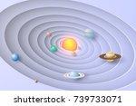 paper art of solar system... | Shutterstock .eps vector #739733071