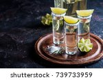 mexican gold tequila with lime... | Shutterstock . vector #739733959