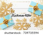 christmas background with gifts ... | Shutterstock .eps vector #739735594