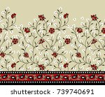seamless horizontal floral... | Shutterstock . vector #739740691