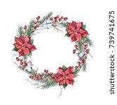 watercolor christmas wreath of...   Shutterstock . vector #739741675