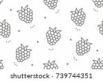 raspberries seamless pattern....   Shutterstock .eps vector #739744351