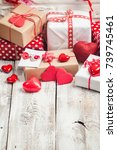 valentines day gift boxes with... | Shutterstock . vector #739745461