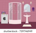 bathroom in a purple color.... | Shutterstock .eps vector #739746949