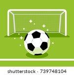 soccer goal and ball on the... | Shutterstock .eps vector #739748104