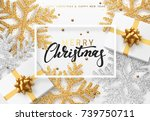 christmas background with gifts ... | Shutterstock .eps vector #739750711