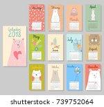 calendar 2018. cute calendar... | Shutterstock .eps vector #739752064