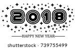 2018 happy new year black...   Shutterstock .eps vector #739755499