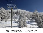 Skiers Are Riding Lift On A...