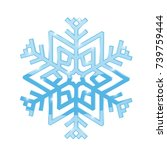 Snowflake. Blue symbol isolated on white background. Vector 3d illustration