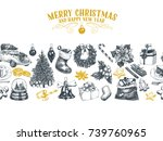 beautiful vector hand drawn... | Shutterstock .eps vector #739760965