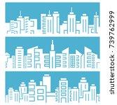 city skyline on blue background   Shutterstock .eps vector #739762999