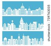 city skyline on blue background | Shutterstock .eps vector #739763035