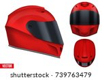 set of red motor racing helmets ... | Shutterstock .eps vector #739763479