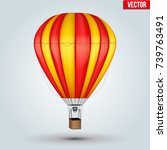 realistic hot air balloon. two... | Shutterstock .eps vector #739763491