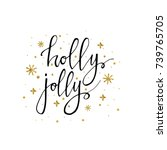 holly jolly christmas card.... | Shutterstock .eps vector #739765705