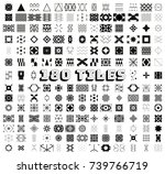 huge set of 180 black seamless... | Shutterstock .eps vector #739766719
